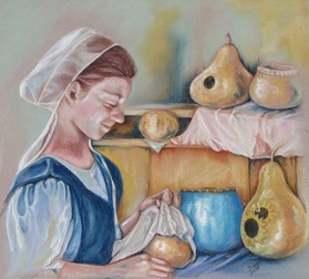 Amish Girl with Gourds II